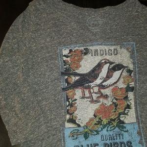 EUC VINTAGE Lucky Brand Indigo Blue Bird Top